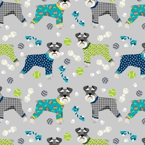 schnauzers in jammies fabric cute dogs in pajamas pyjamas fabric - grey and blue
