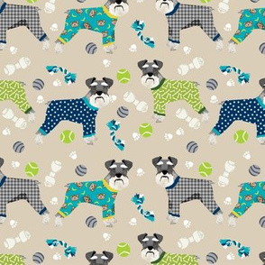 schnauzers in jammies fabric cute dogs in pajamas pyjamas fabric - sand