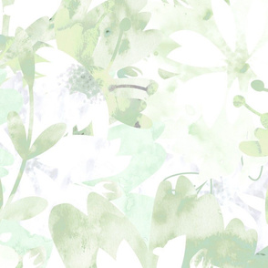 Washed out Lime minty Florals