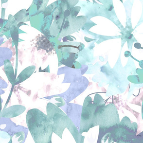 Washed out Turquoise Florals