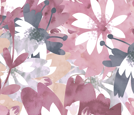 Wonderful Watercolor Flowers fabric by phrosne_ras on Spoonflower - custom fabric