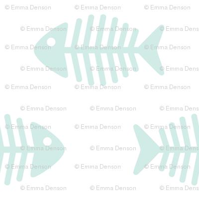 Large Aqua Fishes on White