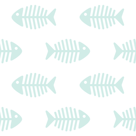 Large Aqua Fishes on White fabric by woodmouse&bobbit on Spoonflower - custom fabric