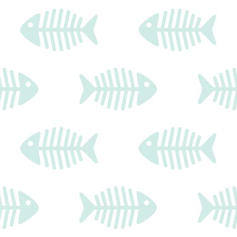 Large Aqua Fishes on White fabric by woodmouse&bobbit on Spoonflower - custom fabric