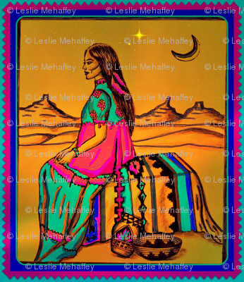 Native American  woman in Southwest setting.