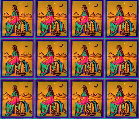 Native American  woman in Southwest setting.  fabric by lazella_rosetta on Spoonflower - custom fabric