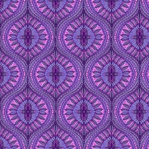 Marrakesh Ultraviolet Purple Bohemian Watercolor Ogee Leaves of purple