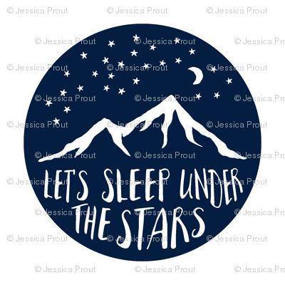 "Navy 6""x6"" Let's sleep under the stars quilt blocks"