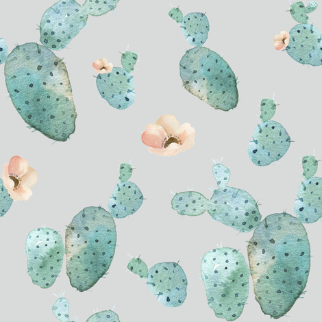 Cactus Peach - Grey fabric by shopcabin on Spoonflower - custom fabric