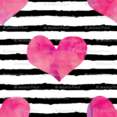 (large scale) watercolor hearts || stripes