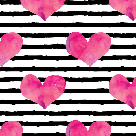 (large scale) watercolor hearts || stripes fabric by littlearrowdesign on Spoonflower - custom fabric
