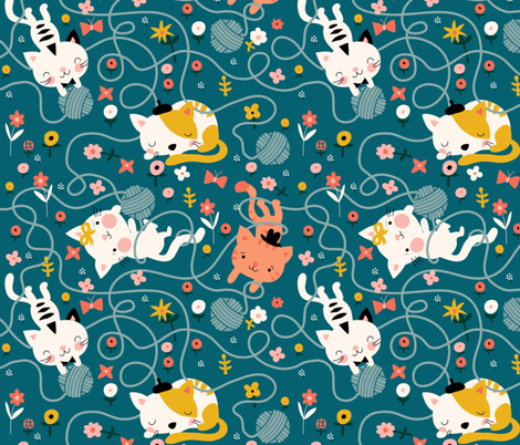 Yarn and Kitty's fabric by bora on Spoonflower - custom fabric
