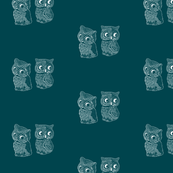 Folk Art Owls Dark Teal