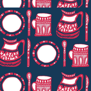 Kitchen Print Pink and Navy