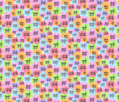 Monster Puffs 1/2 size fabric by sufficiency on Spoonflower - custom fabric