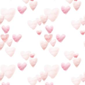 Watercolor Hearts // Blush