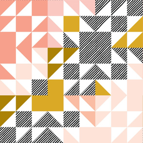 puzzle wholecloth // blush + mustard + diagonal stripe