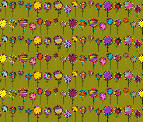 BLOOMING  FLOWERS HAPPY AND NAIVE KAKI MOSS GREEN fabric by paysmage on Spoonflower - custom fabric