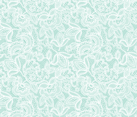 lace // aqua fabric by ivieclothco on Spoonflower - custom fabric