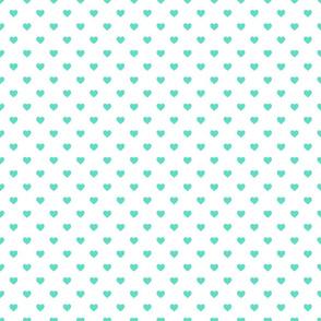 Tiffany Aqua Blue Candy Polkadot Hearts on White