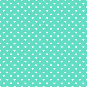 White Polkadot Hearts on Tiffany Aqua Blue