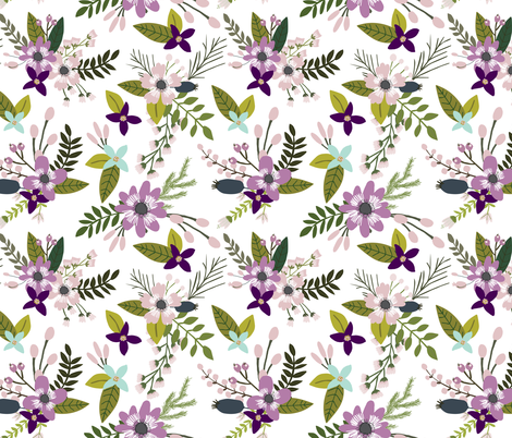 laguna sprigs and blooms // oversized fabric by ivieclothco on Spoonflower - custom fabric