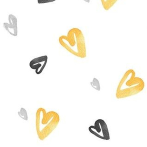 Yellow Black & White Hearts