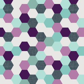 mermaid hexagons // purple + aqua