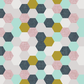mermaid hexagons // purple + mustard