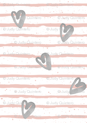 Muted Pink with Grey Watercolor Hearts