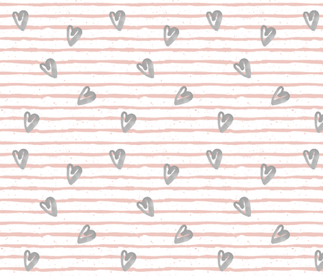 Muted Pink with Grey Watercolor Hearts fabric by shopcabin on Spoonflower - custom fabric