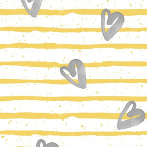 Yellow Stripes with Grey Watercolor Hearts