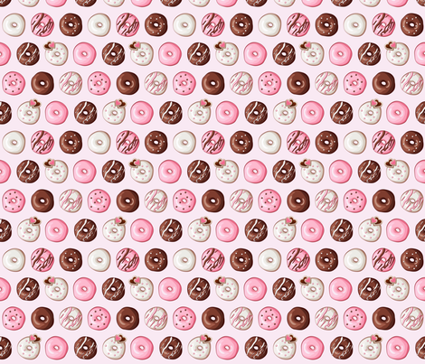 Valentine Donut Sweets Pink fabric by heatherhightdesign on Spoonflower - custom fabric