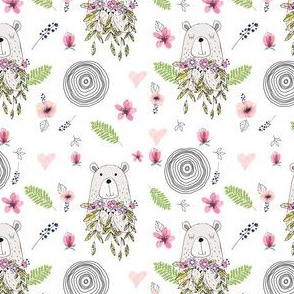 "4"" Floral Woodland Bear"