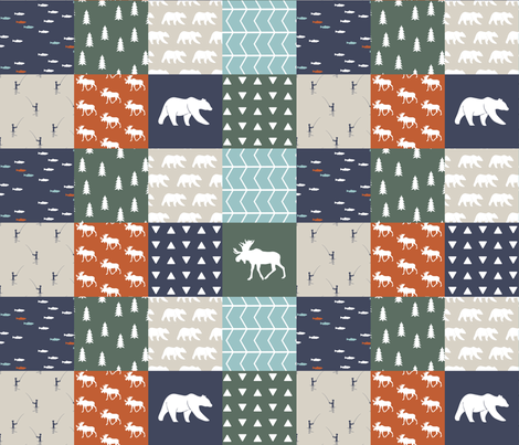 """3"""" small scale - adventure camp patchwork (moose and bear) fabric by littlearrowdesign on Spoonflower - custom fabric"""
