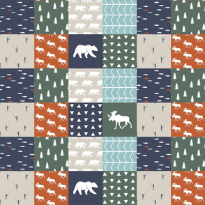 "3"" small scale - adventure camp patchwork (moose and bear)"