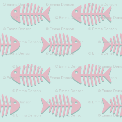 Pink Fishes on Aqua