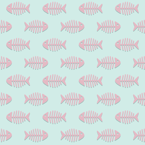 Pink Fishes on Aqua fabric by woodmouse&bobbit on Spoonflower - custom fabric