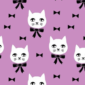 fancy cat // purple cat bows cat head fabric cute cat design