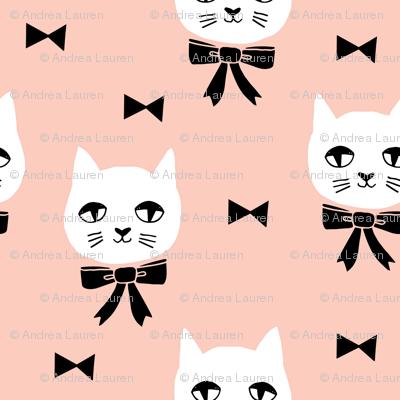 fancy cat // cute cat blush fabric bows bow fabric andrea lauren design