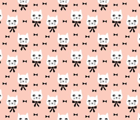 fancy cat // cute cat blush fabric bows bow fabric andrea lauren design fabric by andrea_lauren on Spoonflower - custom fabric