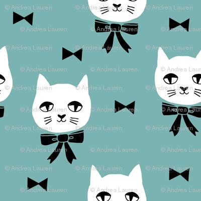 fancy cat // cats blue fabric cute cat design cats fabric blue