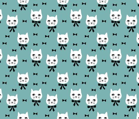 fancy cat // cats blue fabric cute cat design cats fabric blue fabric by andrea_lauren on Spoonflower - custom fabric