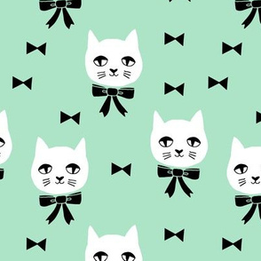 fancy cat // mint green cat head fabric cat and bow cute pet cat fabric