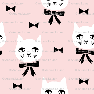 fancy cat // baby girl pink fabric soft pink cat and bow design cute cats fabric