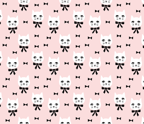 fancy cat // baby girl pink fabric soft pink cat and bow design cute cats fabric fabric by andrea_lauren on Spoonflower - custom fabric