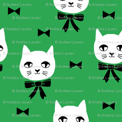 fancy cat // kelly green cat fabric cute cats design