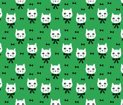 fancy cat // kelly green cat fabric cute cats design  fabric by andrea_lauren on Spoonflower - custom fabric
