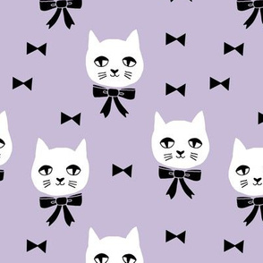 fancy cat // purple pastel cat fabric white cat design cute cats and bows fabric