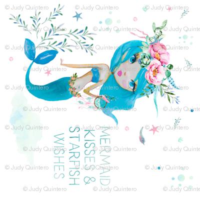 Mermaid Kisses & Starfish Wishes - Blue Mermaid 90 degrees